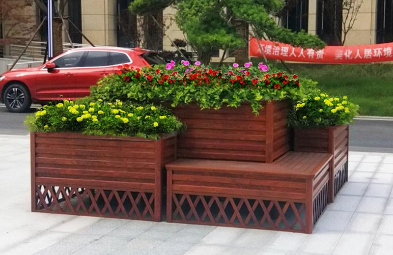 江苏南通,铝合金花箱带坐凳