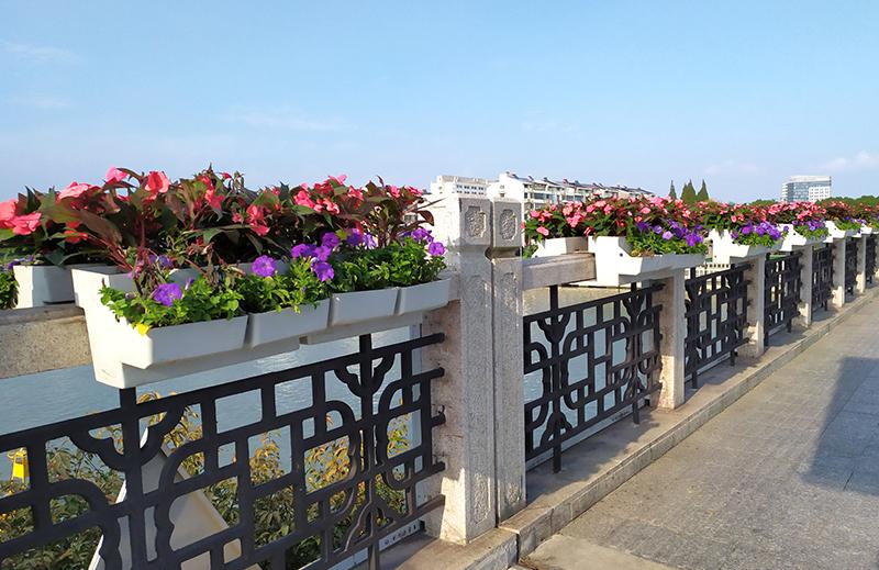 江苏苏州,桥梁壁挂式花箱